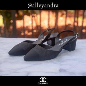 Black Shimmer Chanel Slingback Shoes 👠